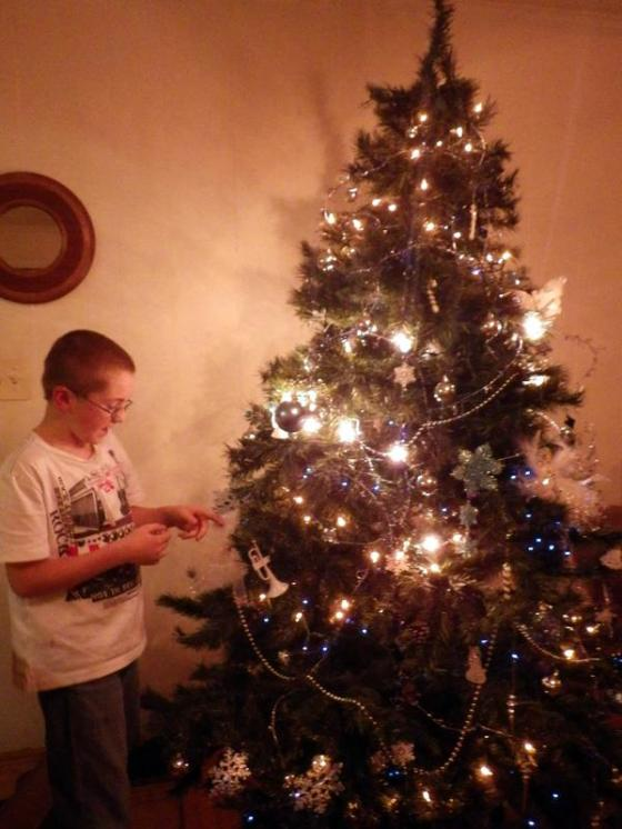 my nephew Carter decorating the tree
