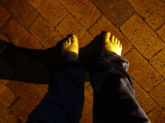 walking barefoot to adrienne's