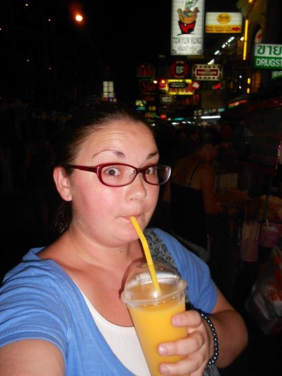enjoying a mango smoothie in Bangkok