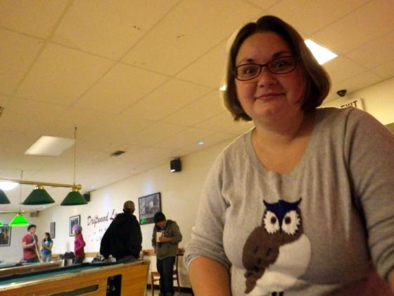 I look like a psycho but I love my owl sweater!