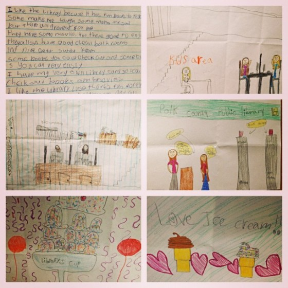A poem and drawings from kids at the library